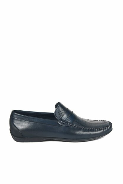 Genuine Leather Navy Blue Men Classic Shoes 2010042848