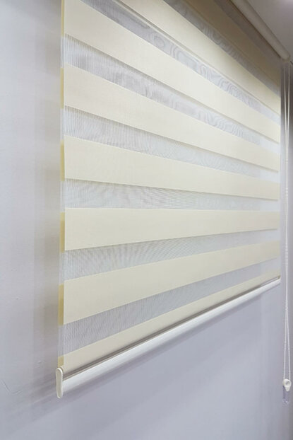 130 x 200 Roller Blind Zebra Curtain Cream MZ509 8605480580330