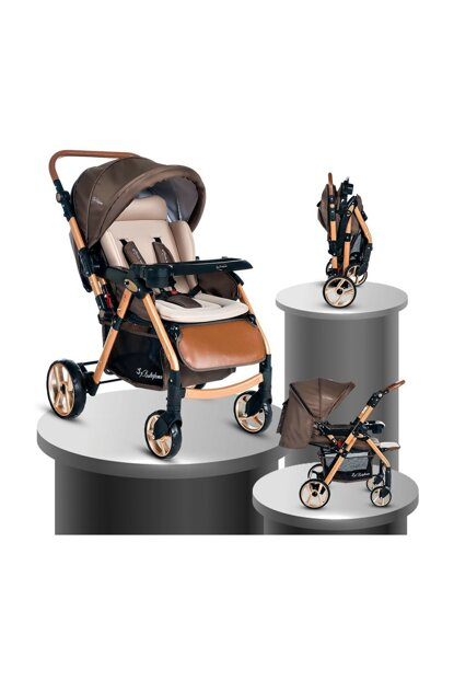 Baby Home Bh-770 Gold Aluminum Ball Wheel Baby Carriage Coffee 000007.000044.000002