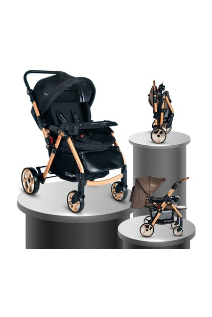 Baby Home Bh-770 Gold Aluminum Ball Wheel Baby Carriage Black 000007.000044.000001