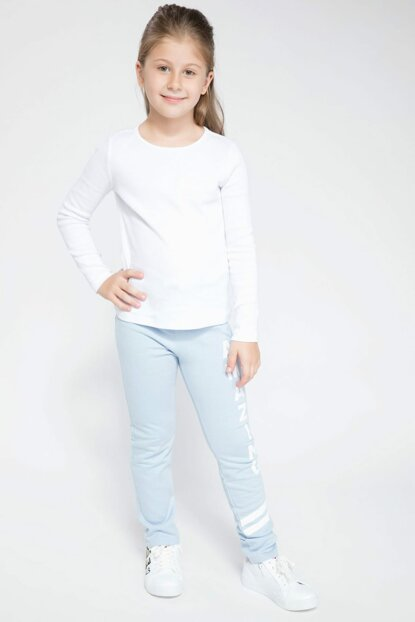 Blue Young Girl Lettering Printed Jogger Pants K0330A6.18AU.BE480