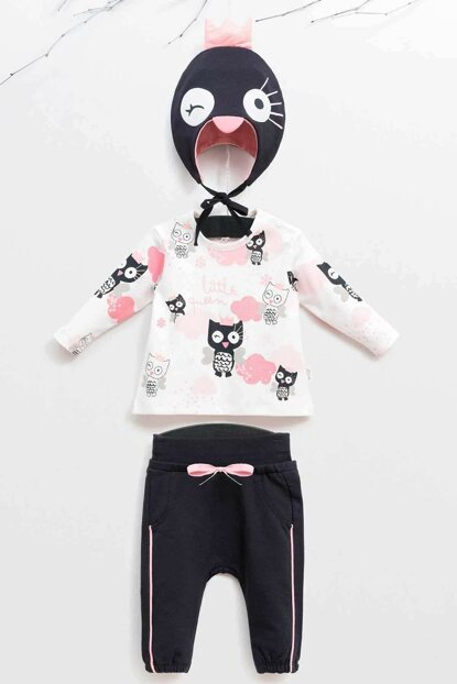 Wogi Baby Girl Sweat Pants Hat Set of 3 3-18 Months 5383 WG5383