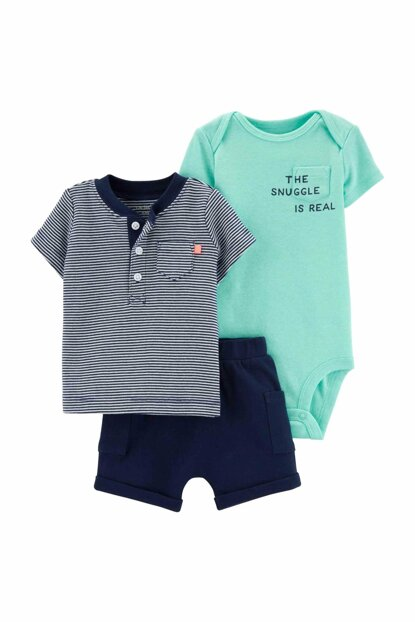 Navy Blue Layette Baby Boy Set of 3 16695110