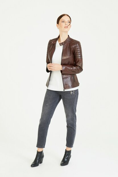 Bianca Bordeaux Leather Jacket (Women) BD00210