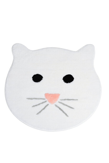 Cat White 90X90 Cm Bathroom Carpet 8694545034952
