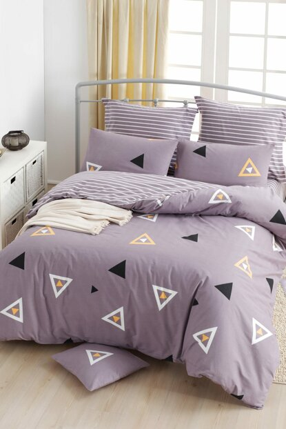100% Natural Cotton Single Bed Linen Set Erois Lilac Ep-018791