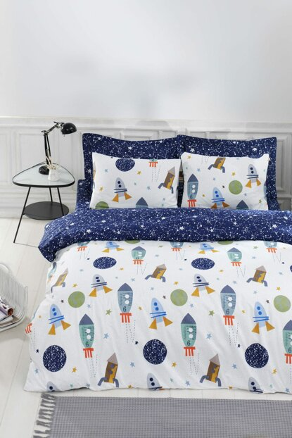 100% Natural Cotton Double Duvet Cover Set Spacex Navy Blue Ep-019645