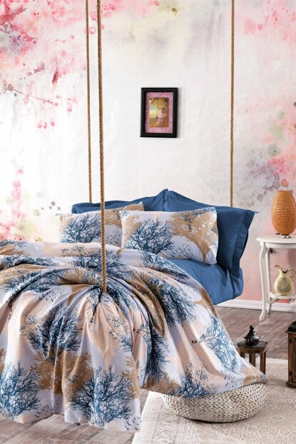 100% Natural Cotton Double Duvet Cover Set Viviane Blue 5598v1 Ep-018406
