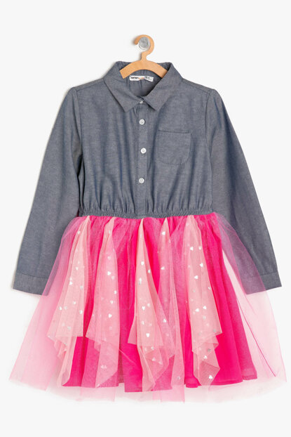 Blue Girl's Tutu Detail Jean Dress 9KKG87875MD