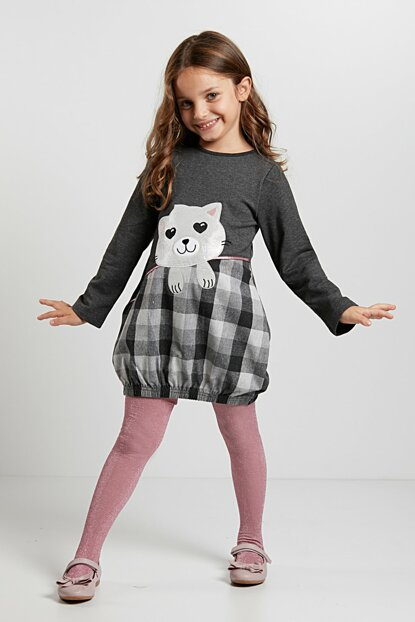 Girl Balloon Dress with Cat CFF-19S1-003