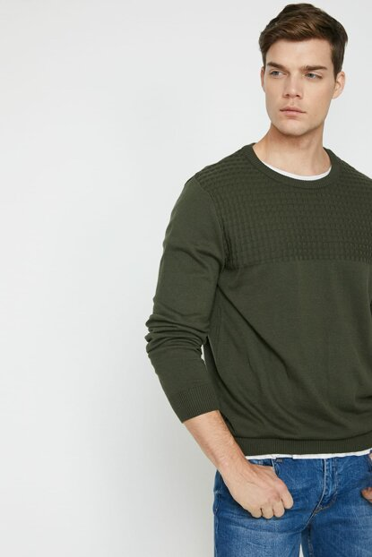 Men's Khaki Sweater 9KAM92017LT