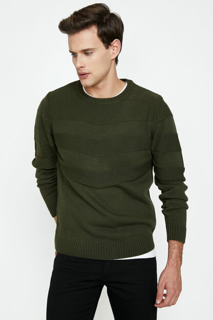 Men's Green Sweater 9KAM91387GT