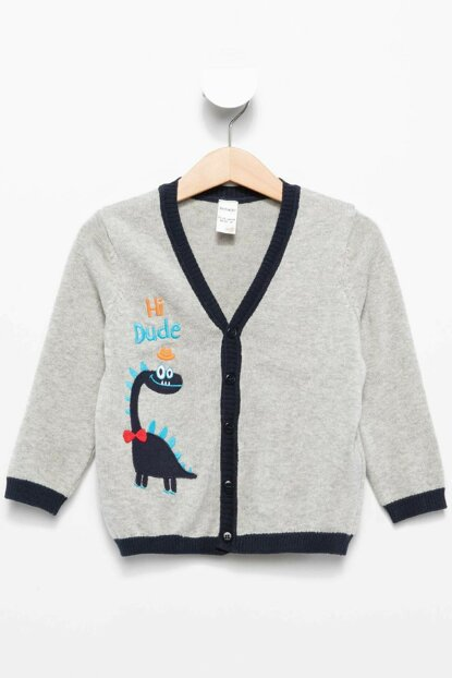 Gray Baby Boy Penguin Printed Baby Boy Cardigan I9675A2.18AU.GR110