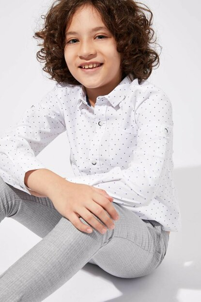 White Boy Boy Printed Polo Collar Long Sleeve Shirt K9709A6.19AU.WT34