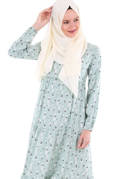 Women's Floral Pattern Mint Neckline Lace Hijab Dress 1627BGD19_056