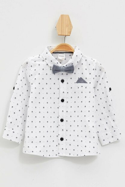White Baby Boy Bow Tie Long Sleeve Shirt L4020A2.19AU.WT43