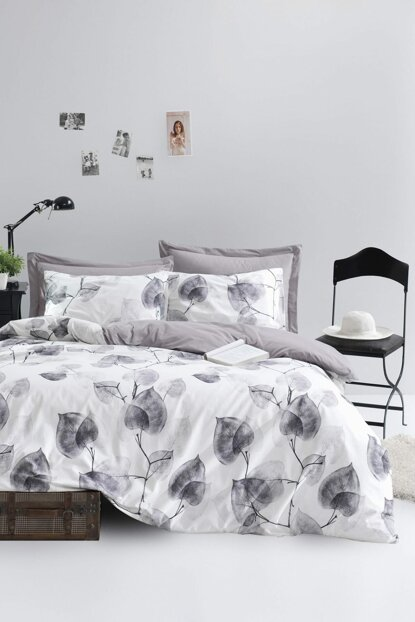 100% Natural Cotton Double Duvet Cover Set Colin Gray Ep-018676