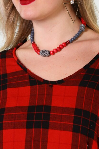 Women's Red-Gray Necklace Pmlpskly40 PMLPSKLY40