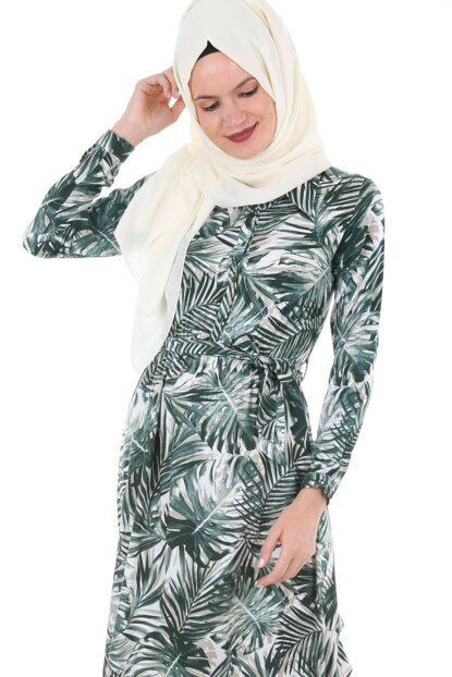 Women's Green Patterned Hijab Dress 1549BGD19_087
