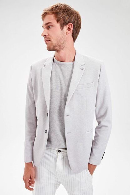 Gray Men's Filato Double Buttoned Jacket with Pockets TMNAW20CE0017