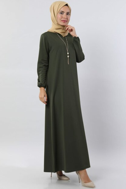 Women's Khaki Basic Dress with Necklace 5256