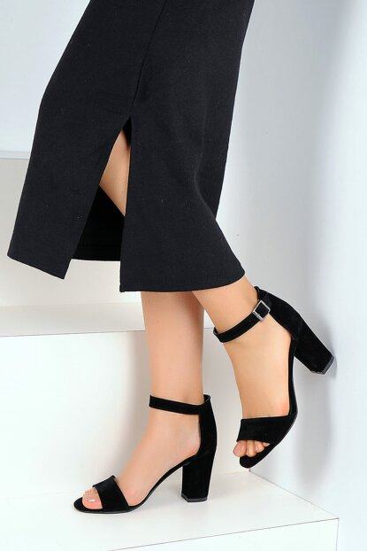 Black Suede Women High Heels Shoes A200-19