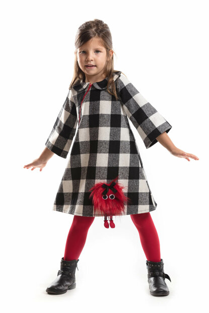 Pompon Plaid Dress CFF-18S1-187