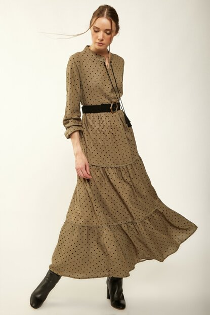 Women Khaki Polka Dot Long Viscose Hijab Dress DD00165