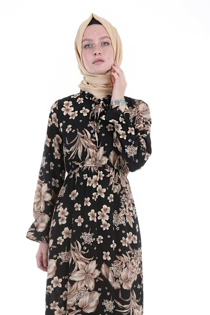 Women's Printed Black Collar Lace Dress 1717BGD19_089