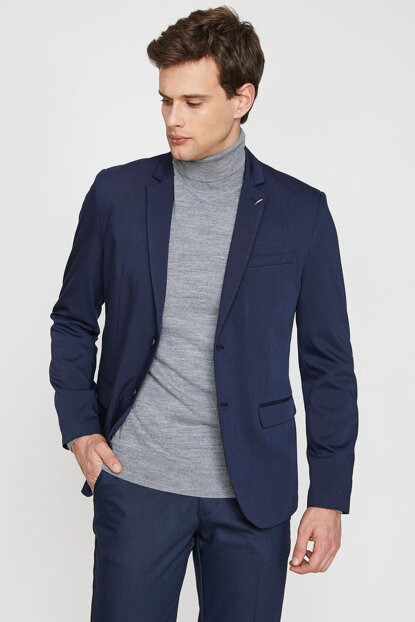 Men's Navy Blue Button Detailed Jacket 9KAM51288NW