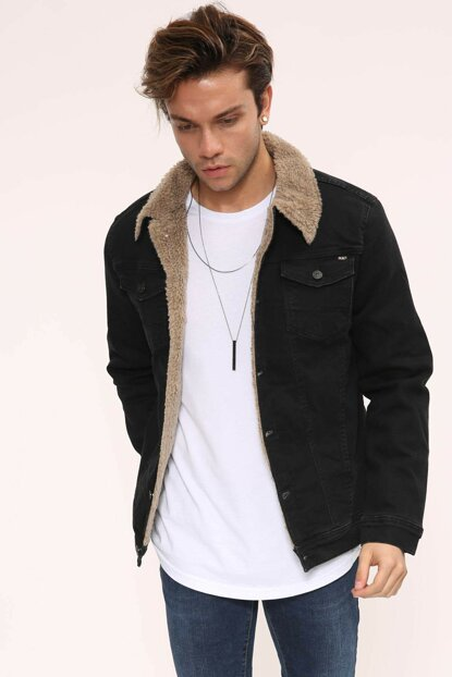 Black Buttoned Fur Men's Denim Jacket - dk4404ltc