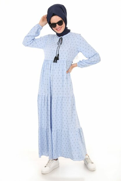 Women's Anchor Blue Collar Lace Hijab Dress 1627BGD19_299