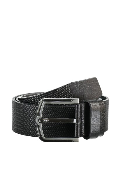 Black Men Genuine Leather Textured Belt TMNAW20KE0010