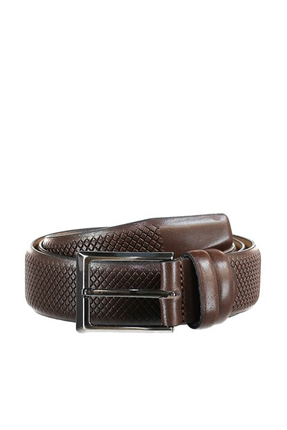 Brown Men Genuine Leather Textured Belt TMNAW20KE0016