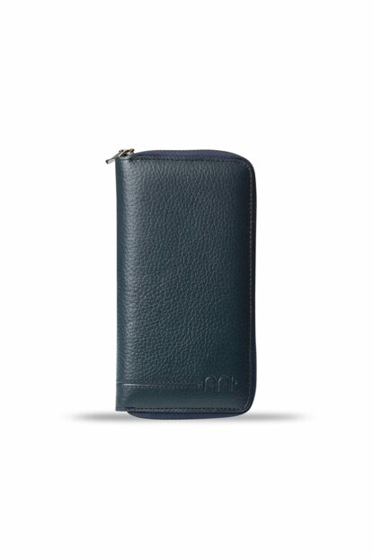 Men's Zipper Large Leather Card Wallet Navy Blue 3016