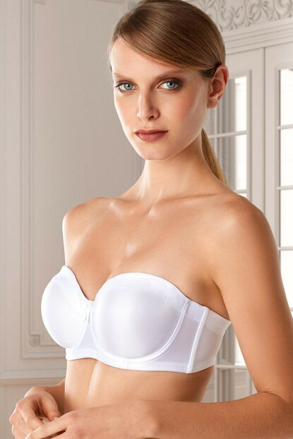 Women's White Strapless Underwire Retractor Bra 7031