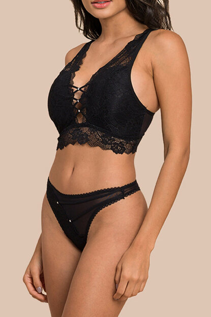 Women's Black Bralet Bra Set CO18STK00014