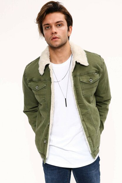 Fur White Green Men's Denim Jacket - dk4404ltc