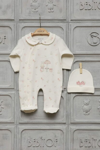 Baby Girl 0-6 Months Cafedeki Rabbit Patterned Jumpsuit 70006 70004