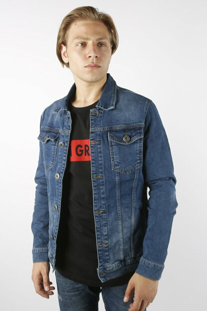 Blue Men's Denim Jacket Slim Fit rpblc4749