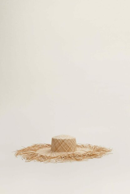 Women's Sand Beige Fringed Straw Hat 53070616