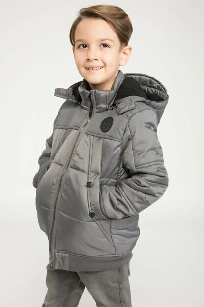 Gray Young Boys Hooded Large Pockets Inflatable Coats J1899A6.18AU.GR326