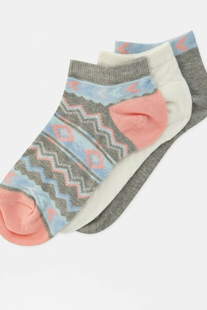 Women's Coral 3-Patterned Ankle Socks Package 09893314