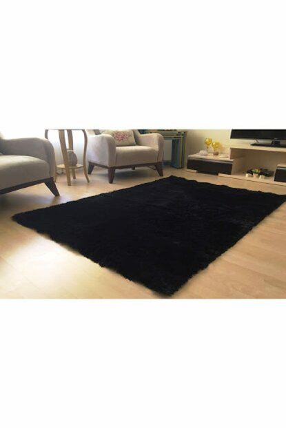 100x150 Rabbit Feather Decorative Post Carpet Black TBT100150