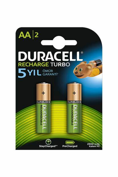 Rechargeable Turbo AA Batteries, 2 Pieces 2500mAh Battery 19.05.057.047