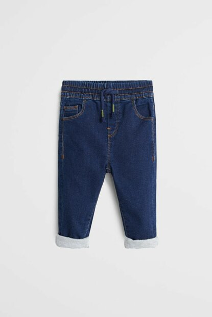 Dark Blue Baby Boy Comfy Cut Lined Jean Trousers 53065715