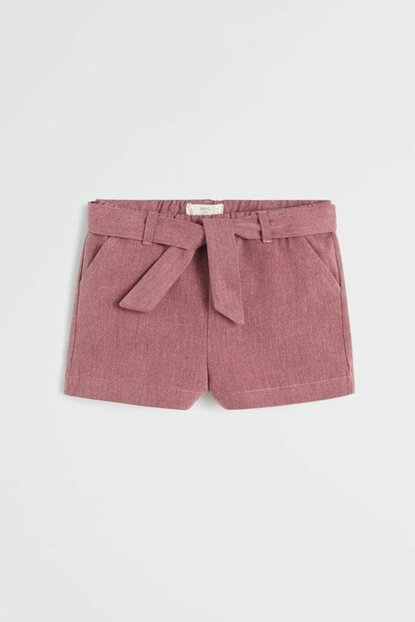 Burgundy Color Baby Girl High Waist Shorts With Bow 57095130
