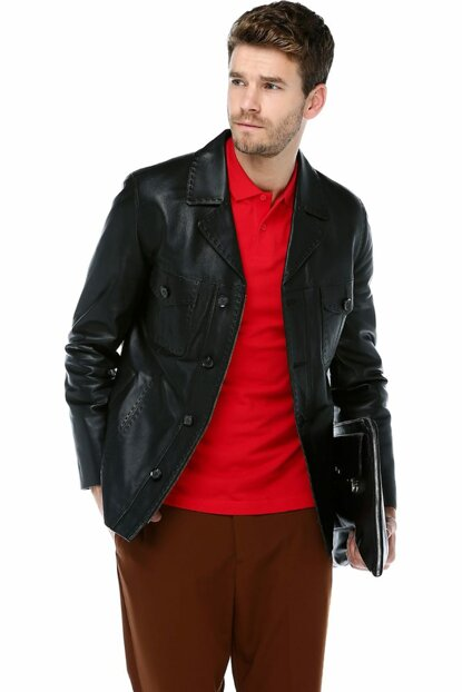 Black Genuine Leather Men Jacket E_1024_ZİG