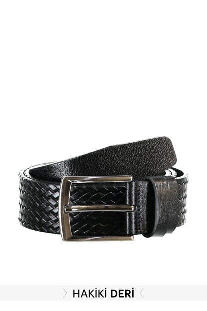 Black Men Genuine Leather Textured Belt TMNAW20KE0014