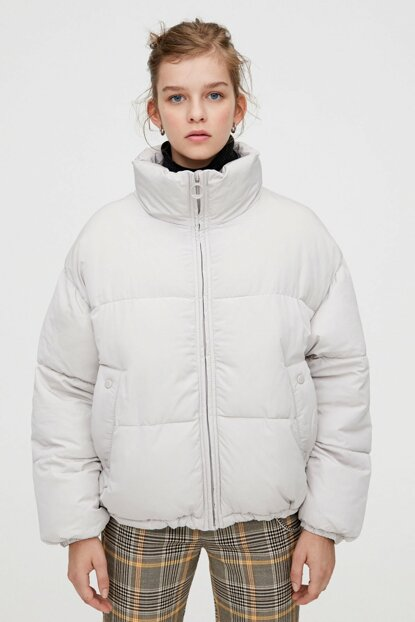 Women Light Gray Upright Collar Inflatable Coat 09714313